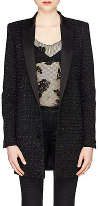 Saint Laurent Women's Embellished Wool-Cashmere Long Two-Button Blazer