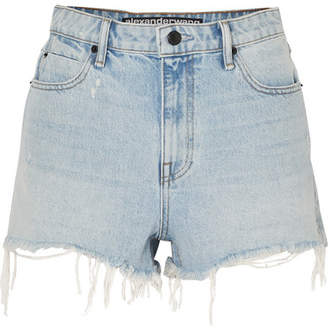 Alexander Wang Bite Frayed Denim Shorts - Light denim