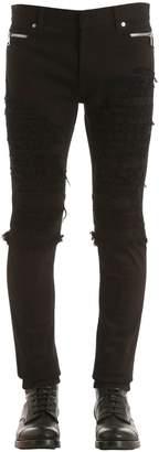 Balmain 15cm Zip Destroy Denim & Jersey Jeans