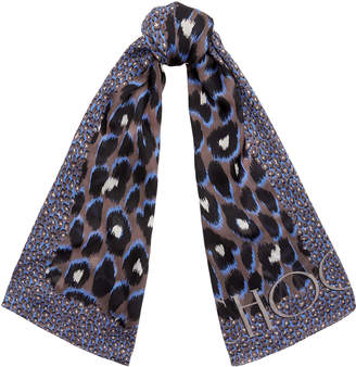 Jimmy Choo KRISTI Steel Blue and Dark Grey Leopard Print Silk Stole