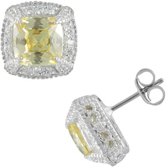 Siri Usa By Tjm SIRI USA by TJM Sterling Silver Canary & White Cubic Zirconia Square Frame Stud Earrings