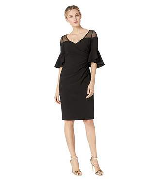 Calvin Klein Ruched Waist with Illusion Shoulder Dress