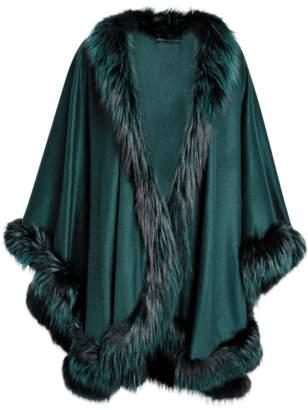 Sofia Cashmere Cashmere Cape With Silver Fox Fur Trim