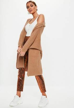 Missguided Brown Batwing Long Knit Cardigan