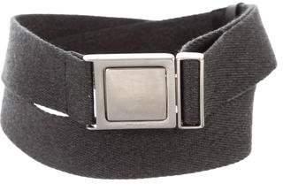 Prada Silver-Tone Buckle Canvas Belt