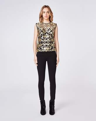 Nicole Miller Scroll Embroidery Sleeveless Top