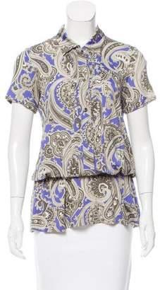 Etro Paisley Print Short Sleeve Top