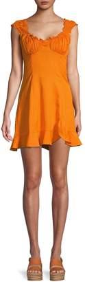 Free People Ruffle Cotton & Linen Blend Mini Dress