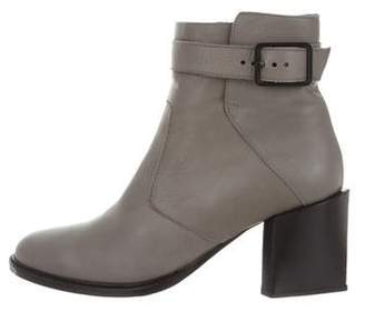 Helmut Lang Leather Round-Toe Ankle Boots