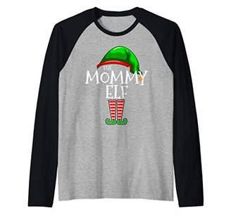 Mommy Elf Family Matching Group Christmas Gift Mom Women Raglan Baseball Tee