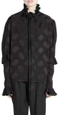 Saint Laurent Silk Ruffle Collar Blouse