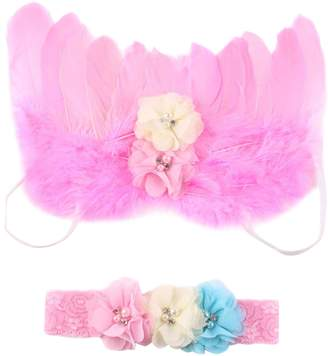 Pinzhi Feather Angel Wings Rhinestone Headband Set Baby Chiffon Flower Headband Hair Accessories Newborn photo prop custom