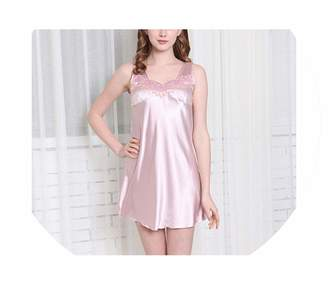 Color mood Pajamas Home Satin Nightdress Sleeveless Women Soft Sleepwear  Mini Dress Embroidery Nightgown ce86f6e95