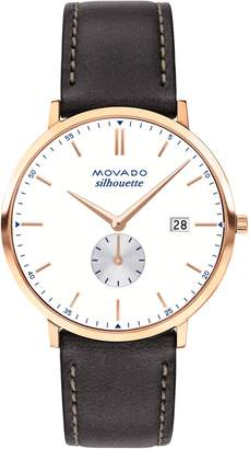 Movado Heritage Silhouette Leather Strap Watch, 40mm