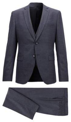 BOSS Hugo Extra-slim-fit three-piece suit in virgin wool 40R Open Blue