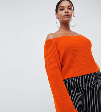 Missguided Plus bardot jumper in orange