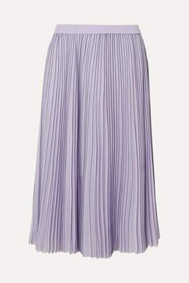 e6cd49d0435b Jason Wu Pleated Striped Georgette Midi Skirt - Lilac