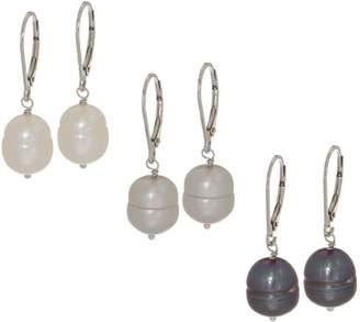 Honora Set of Three Cultured Pearl Tonal Earrings, Sterling Silver
