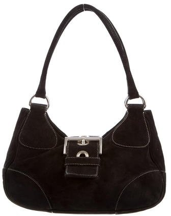prada Prada Scamosciato Suede Buckle Shoulder Bag