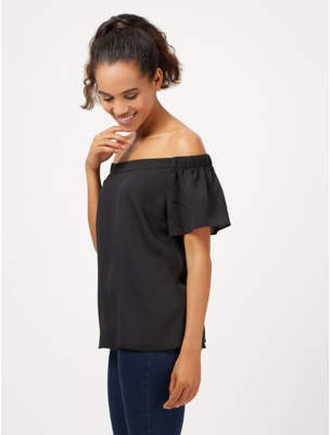 George Black Textured Bardot Top