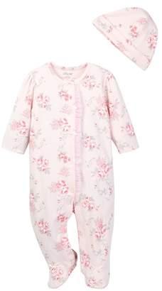 Little Me Scroll Rose Footie & Hat Set (Baby Girls)