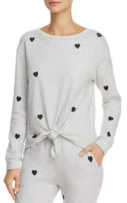Generation Love Melissa Tie-Front Heart Print Sweatshirt