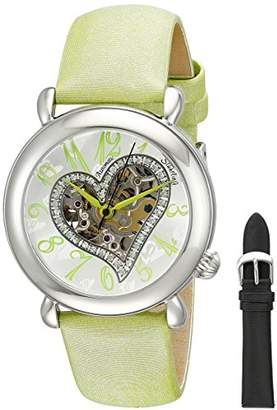 "Stuhrling Original Women's 109SW.1215D2 ""Amour"" Stainless Steel Watch with Green Leather Band"