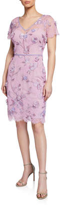Marchesa Cap-Sleeve Corded Lace & Embroidered Tulle Dress w\/ 3D Flowers & Trim
