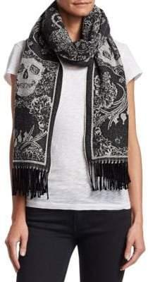 Alexander McQueen Skull-Print Lurex-Knit Scarf