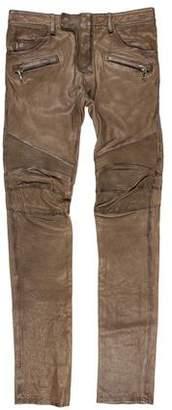 Balmain Lambskin Skinny Biker Pants