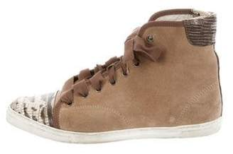 Lanvin Suede High Top Sneakers Khaki Suede High Top Sneakers
