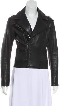 Elise Overland Notch-Lapel Leather Jacket