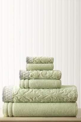 Amrapur Damask Jacquard Embellished Border Towel 6-Piece Set - Sage