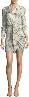Haute Hippie Snake In The Grass Printed Silk Long-Sleeve Dress