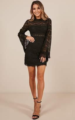 Showpo Never Start Dress in black lace Dresses