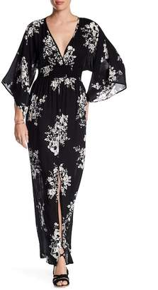 Love Stitch Kimono Sleeve Maxi Dress