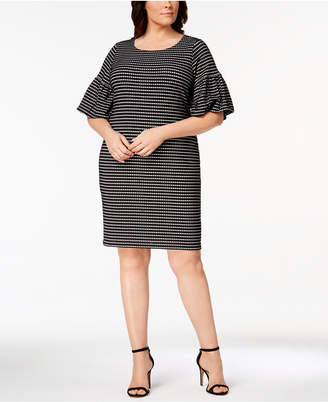 Calvin Klein Plus Size Printed Bell-Sleeve Shift Dress