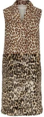 Stella McCartney Paneled Leopard-Print Wool-Blend And Faux Fur Vest