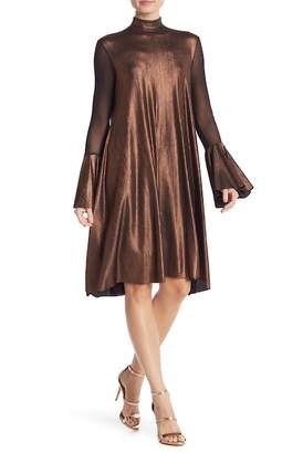 Petit Pois Flutter Sleeve Metallic Turtleneck Dress