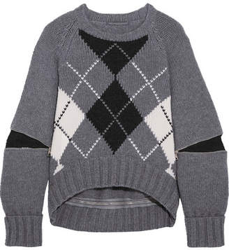 Alexander McQueen Oversized Zip-detailed Argyle Wool Sweater - Gray