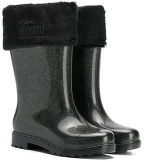 Mini Melissa fur trim glittered boots