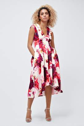Coast Womens Pink Blossom Print Scuba Full Midi Dress - Pink