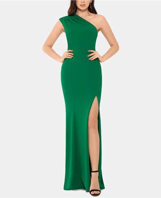 Xscape Evenings One-Shoulder Scuba Gown