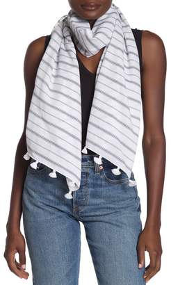 Melrose and Market Striped Woven Tassel Trim Scarf