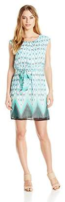 Robbie Bee Women's Petite Cap Sleeve Printed Chiffon Blouson Dress
