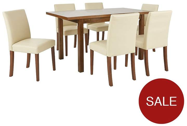 Evelyn 120-150 Cm Solid Wood Extending Dining Table + 6 Lucca Chairs