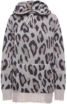 R 13 Distressed Leopard Cashmere Oversized Hoodie