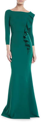 Chiara Boni Dilia Boat-Neck Trumpet Evening Gown w/ Ruffled Trim