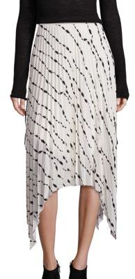 Helmut Lang Silk Pleated Printed Skirt $520 thestylecure.com
