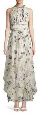 Calvin Klein Floral Print Halter Cascade Dress
